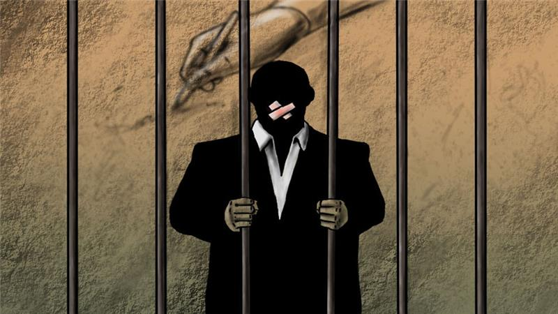 Caged Journalist Illustration commissioned for Aj Jazeera International